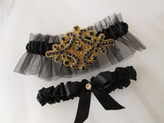Black & Gold Wedding Garter Set, Roaring 20s Prom Garters, Vintage Gold and Black Garter, New Year's Wedding