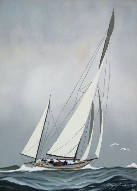 Léon HAFFNER «Yawl vu par arrière tribord » Belle gouache au pochoir,