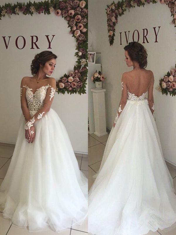 60483c0c442 A-Line Princess Organza Off-the-Shoulder Sweep Brush Train Long Sleeves  Wedding Dresses - Wedding Dresses - Hebeos Online