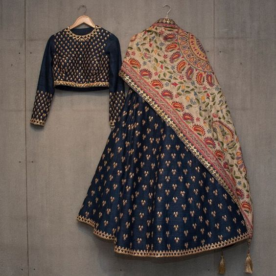 Matsya ~ Gold New collection . Lehenga . Gotta . Kantha . #matsyagold #indianheritage #madeinindia #handcrafted #withlove #lehenga #blue #indianweddings #gold #gotta #kantha #dupatta #wedding #blue #navyblue #perfect