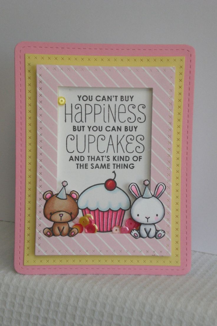 Handmade greetings card, Mama Elephant, Carnival Cupcakes shaker card by Daisyjaynesdesigns on Etsy