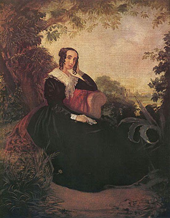 PINTORES VIAJEROS Retrato de María Sánchez de Mendeville (Mariquita Sánchez de Thompson), por Mauricio Rugendas, 1845. (Museo Histórico Nacional de Buenos Aires)