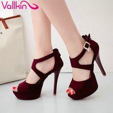 Vallkin 2017 sexy stiletto sapatos sapatos de plataforma das mulheres de salto fino peep Toe de Salto Alto Mulheres Bombas de Salto Alto Sapatos de Casamento Tamanho 34-43(China (Mainland))