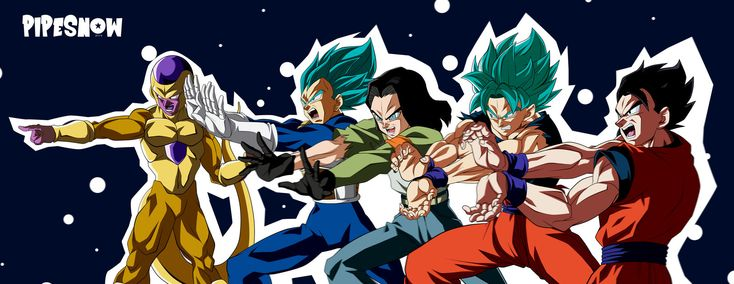 Los 5 Fantásticos formado por Goku, Vegeta, Gohan, 17 y Freezer