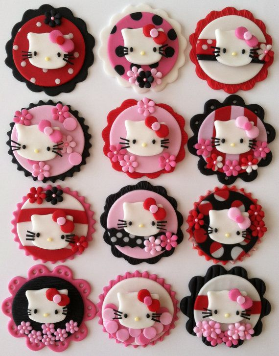 Hello kitty cupcake toppers via Etsy