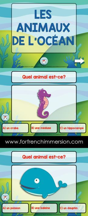 French Sea Animals Vocabulary Quiz on Slideshare - to be used in the French classroom. Les animaux de l'océan (de la mer) en français