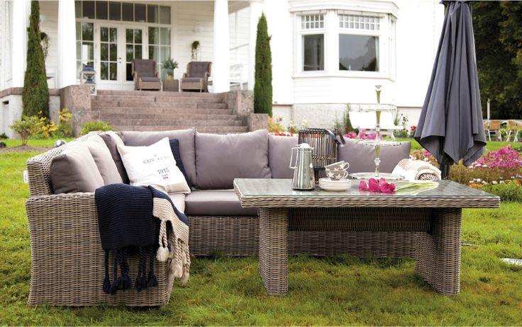 Marbella spisegruppe, hagegruppe. Flott sittekomfort med høyt spisebord. www.krogh-design.no/hage