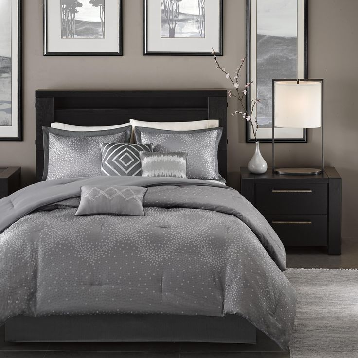Madison Park Crawford Grey Jacquard 7-piece Comforter Set (King)