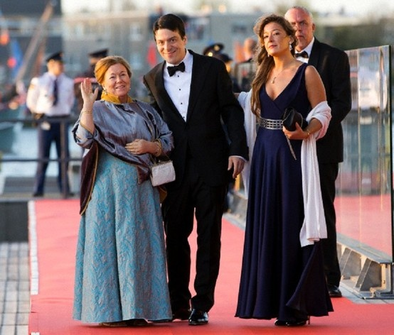 Dutch Princess Christina and her children, Bernardo and Juliana Guillermo arrive at the Muziekgebouw Aan't IJ after the King's Sail in Amsterdam