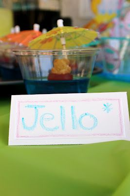 teddy graham cookie in a jello cup w/umbrella, how cute! The NapTime Reviewer: Pool Themed 1st Birthday Party