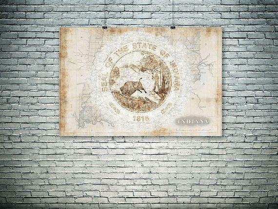 Indiana print Indiana State sealIndiana wall art old map