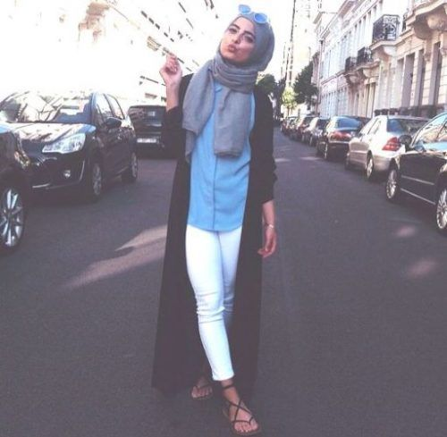 long black cardigan hijab casual look