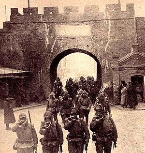 1931: On September 19 Manchuria is invaded by the Kwantung Army of the Empire of Japan immediately following the Mukden Incident, a staged event engineered by Japanese military personnel as a pretext for invasion. The Japanese establish a puppet state, called Manchukuo, and their occupation lasts until the end of World War II. Japanese troops enter Mukden.