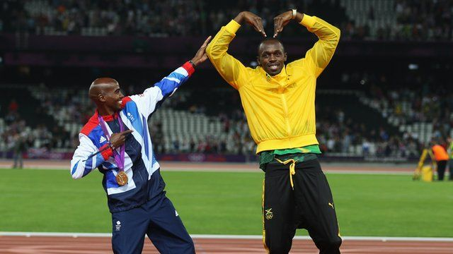 Double Olympic champion Farah does Bolt's 'lightning' celebration while Bolt, who won his third gold of the Games in the 4x100m relay, repays the favour by doing the 'Mobot'.