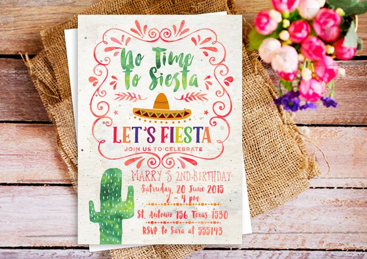 No Time to Siesta, let's fiesta invitation, Fiesta Cactus themed party Invitations, Southwestern invitation cactus 1st birthday, rustic by HappyPartyStudio on Etsy https://www.etsy.com/listing/505609958/no-time-to-siesta-lets-fiesta-invitation