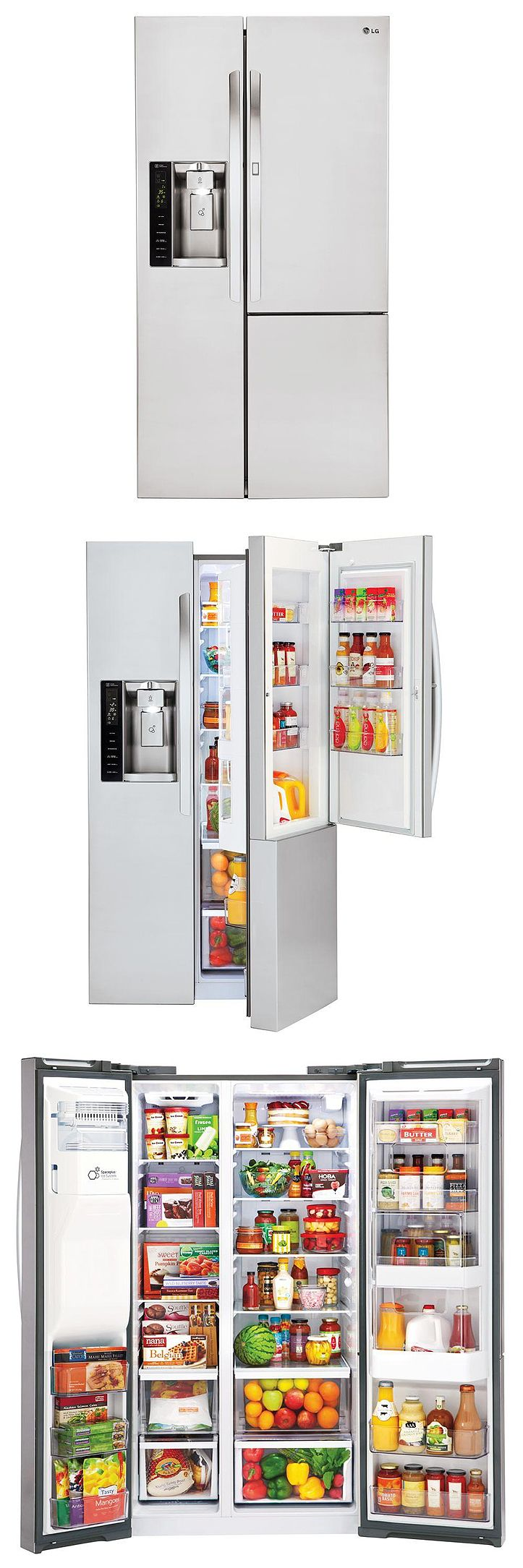 Customers love the door-in-door feature of this side-by-side refrigerator. It comes with convenient slide-out and folding shelving, tilting and adjustable door bins, and multiple crisper drawers and an intuitive LED display.