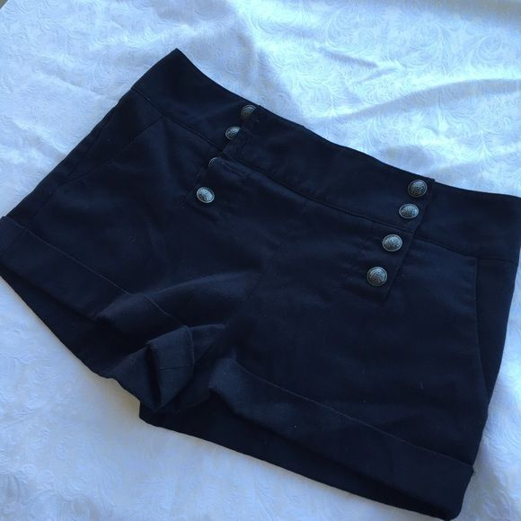 SALE! Forever 21 High-waisted Nautical Shorts Super flattering, button up navy blue nautical shorts! Size M, but could fit a S as well. Pre-loved, as shown in pics. Make an offer! Forever 21 Shorts
