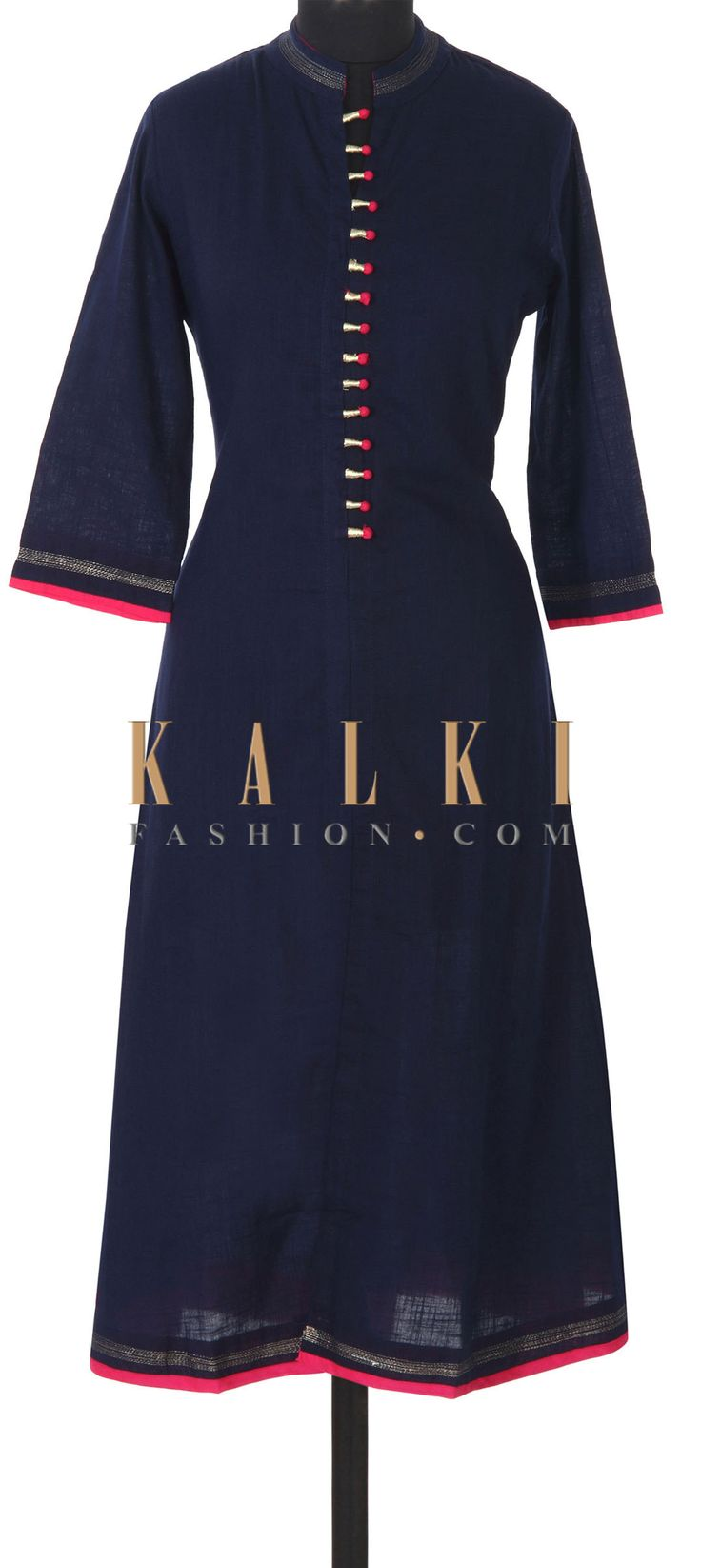 Buy this Navy blue kurti adorn in fancy placket button only on Kalki