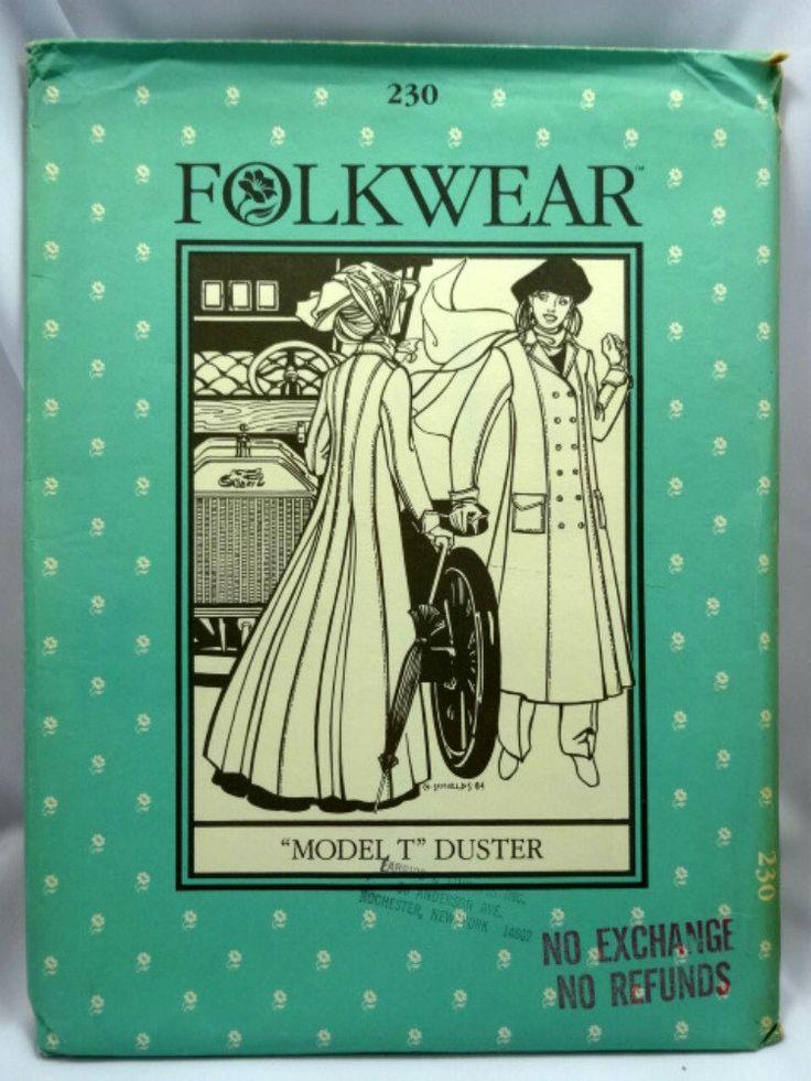 Folkwear 230 Pattern, Model T Duster, Uncut, Sizes Misses 8-16 by Allyssecondattic on Etsy