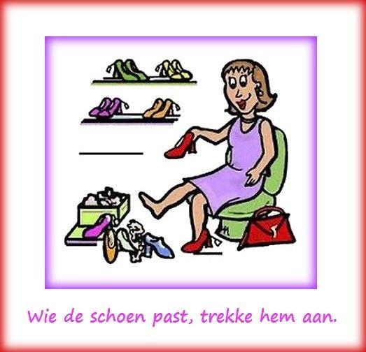 Betekenis : Degene die zich aangesproken voelt, kan zijn gedrag hierop aanpassen E: Whom the cap fits, let him wear it. / If the cap fits, wear it. / If the shoe fits, wear it. F: Qui se sent morveux, (qu'il) se mouche. / A bon entendeur, salut! D: Wem der Schuh passt, der zieht ihn sich an. / Wem der Schuh passt, der soll ihn sich anziehen.