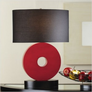 Sitcom Furniture - Baden Circle Table Lamp in Black and Red