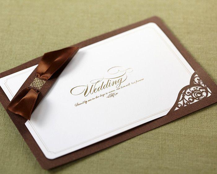 Brown Ribbon Layered Modern Wedding Invitations | ItsInvitation
