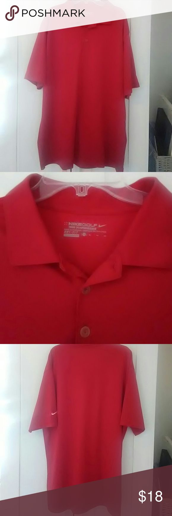 Nike dri-fit golf polo red Tour performance Nike Golf Fri-fit polo in red in EUC.    Bundle with other XL mens shirts in my closet Nike Shirts Polos