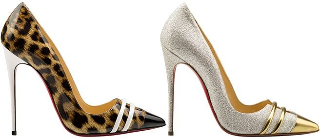 Christian Louboutin Spring 2015 Collection -  love the sparkle/glitter and the shine.  The walk on the wild side with the cream to add a little cool calm.  Love them both