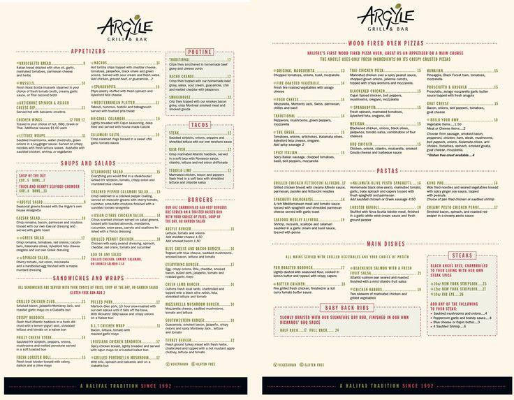 Food Menu   The Argyle Grill & BarThe Argyle Grill & Bar