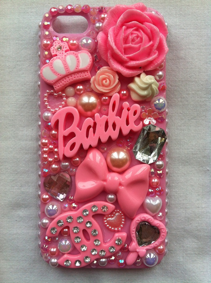 Handmade kawaii decoden iPhone 5 pink case with Barbie, Chanel and assorted pink cabochons. $48.00, via Etsy.