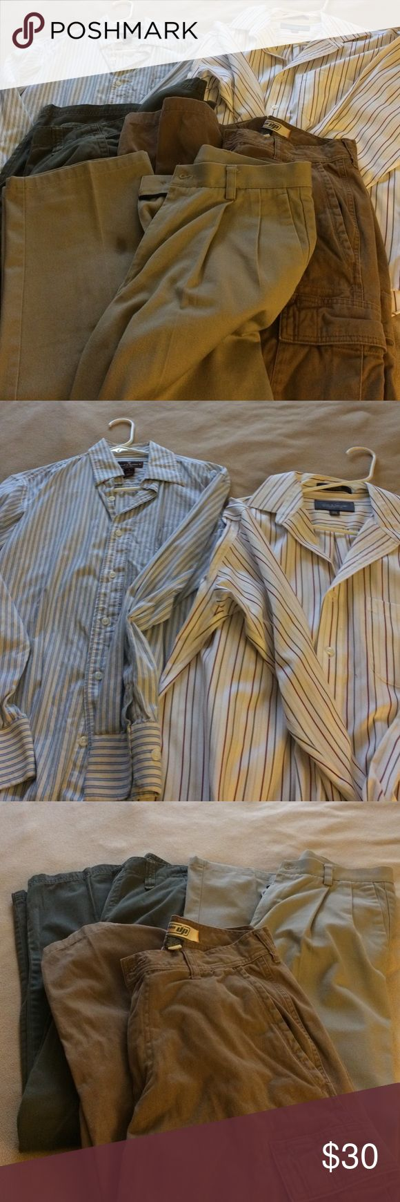 Men's Shirts and Pants Bundle Included in this listing:   #1 croft and barrow striped button down shirt, size 15 1/2 neck. White with narrow gray red and cream stripes.      #2 Steve &a Barry's striped button down, size Small. Blue and white stripes            #3 urban pipeline cargo pants, size 30x32.      #4 Tony Hawk Cargo pants size 30X32. These are new with tags #5 dockers khakis, pleated, classic fit size 30X34.  I can create a custom listing if you just want some items, but this is…