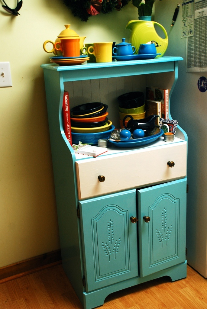 Refinished Cabinet   With Fiestaware!