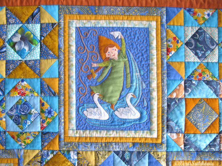 Купить Лоскутное одеяло с русской сказкой ЦАРЕВНА-ЛЯГУШКА - голубой, лоскутное шитье, лоскутное одеяло