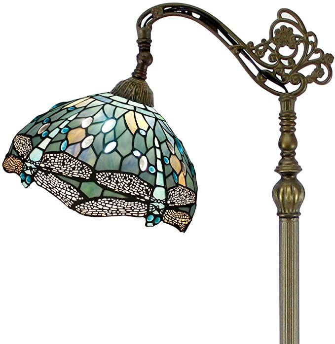 Tiffany Style Reading Floor Lamp Sea Blue Stained Glass Crystal Bead Dragonfly 12 Inch Lampshade 64 Inch T In 2020 Reading Lamp Floor Beaded Lampshade Blue Floor Lamps