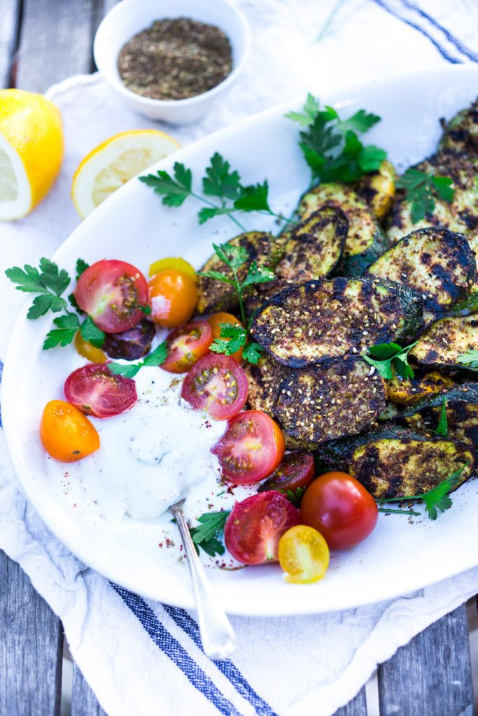 Grilled Zucchini with Za'atar, Garlic and Labneh