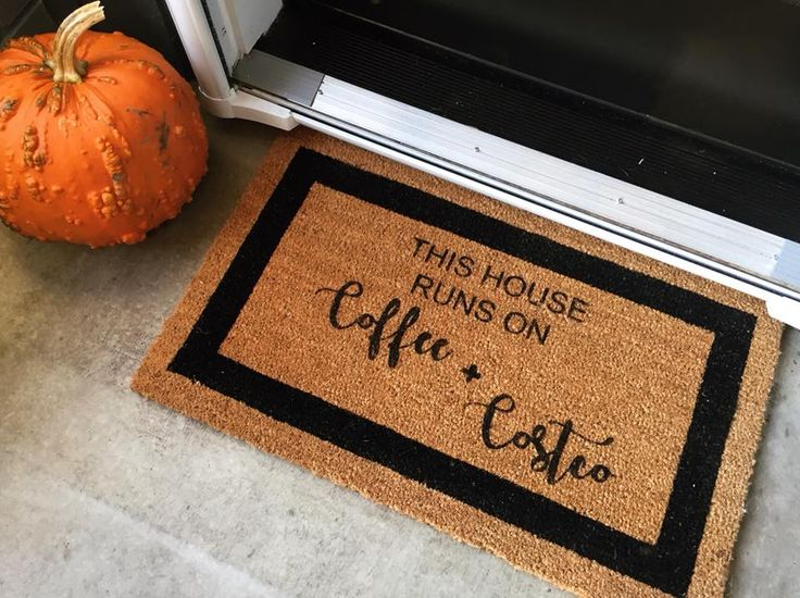 This House Runs on Coffee and Costco, Coir Door Mat, Outdoor Decor