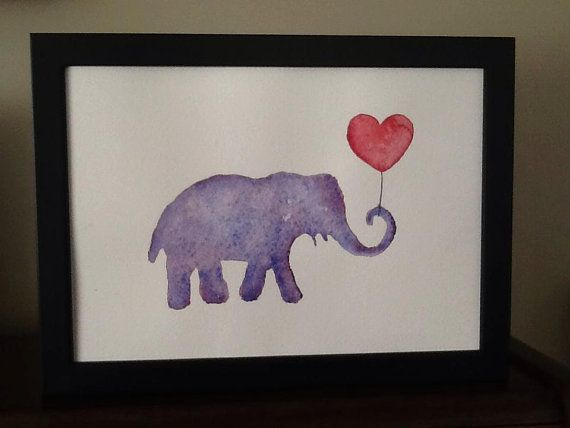 Purple elephant with red heart balloon.by TinkerTailorDesign