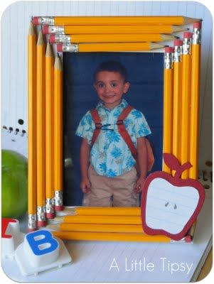 First day of school picture frame idea! Would be a cute gift for a teacher, parent helper, etc. as well.