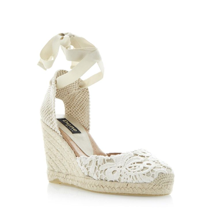 Cream Wedge Shoes In