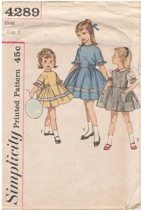 Vintage Simplicity Dress Pattern #4289 Child Size Made In The USA ...