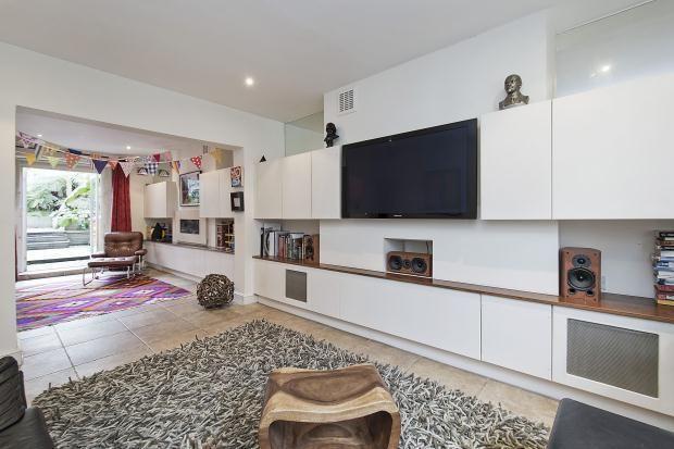Cupboards, TV, gas fire, mirror above cupboards