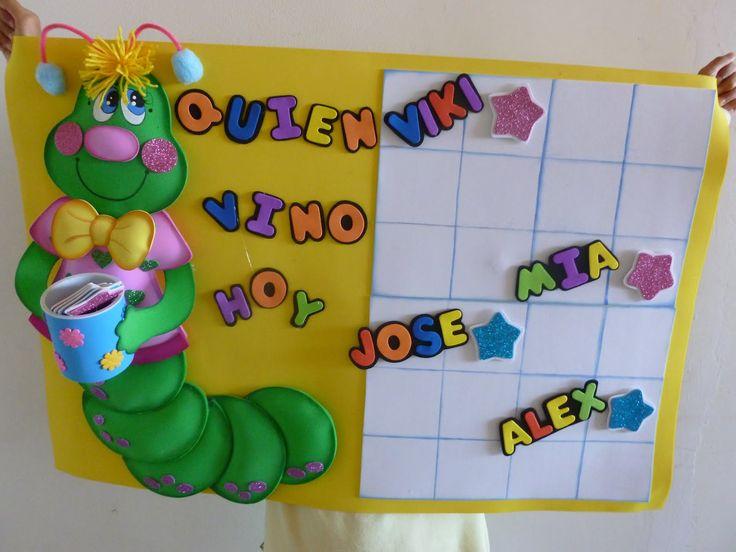 Cartelera para jardín de infancia ¿Quién vino hoy?.  Elaborada en Foami