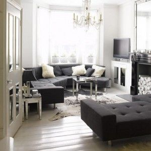 White Living Room With Grey Corner Sofa