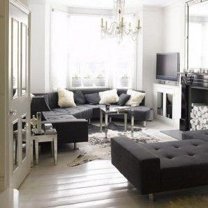 White Living Room With Grey Corner Sofa