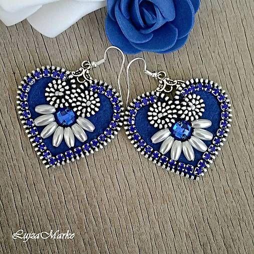 LujzaMarko / Mini ľudové modré náušnice