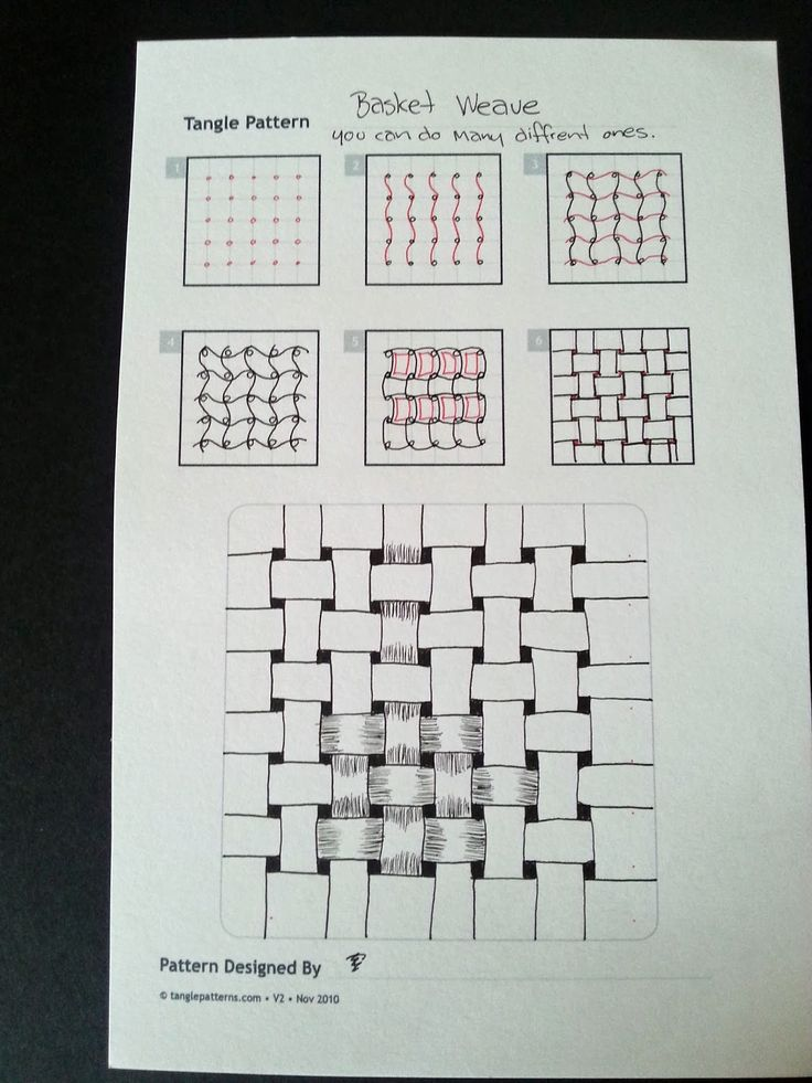 Judy's Zentangle Creations: Basket Weave, can be done many different ways