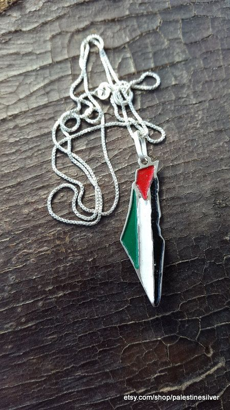 Palestine colored map pendant with necklace
