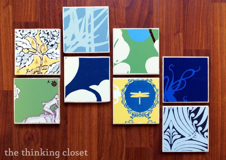 Awesome DIY Wallpaper Coasters Via The Thinking Closet