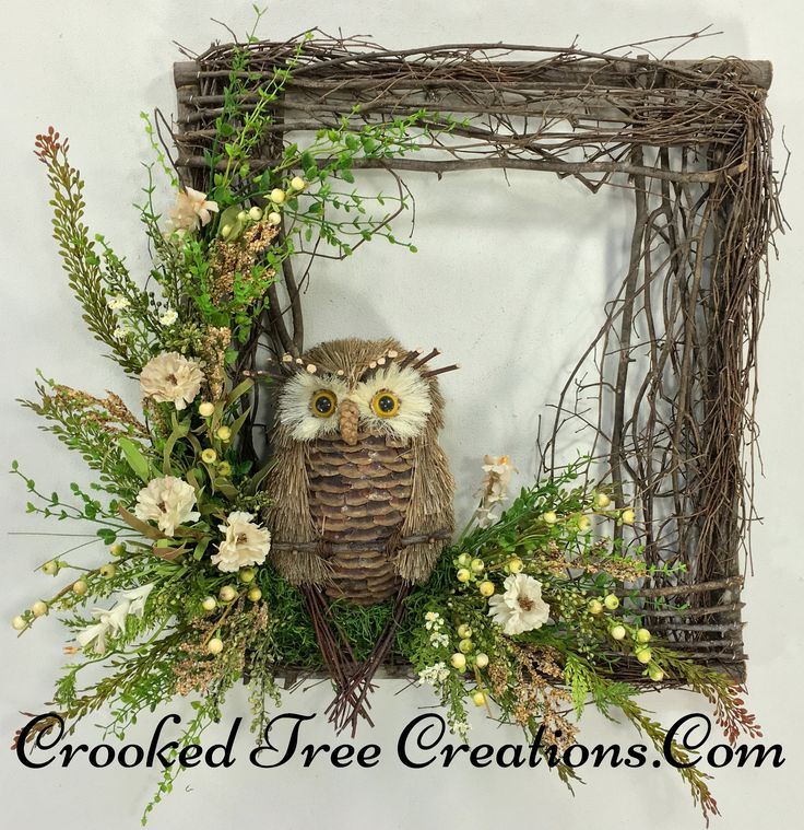 Square Twig Wreath With Owl