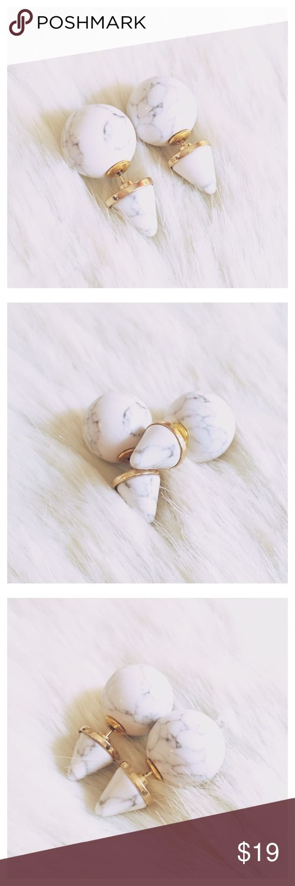 New Arrival- Marble Double Sided Earrings This listing is for a pair of marble double sided earrings. Ear jackets. Gold plated brass. No nickel or lead. Brand new! Jewelry Earrings
